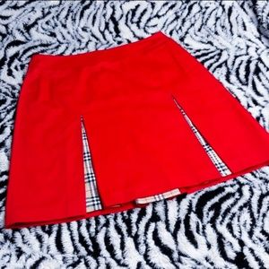 Like New Burberry Red Plaid Mini Skirt Golf Tennis